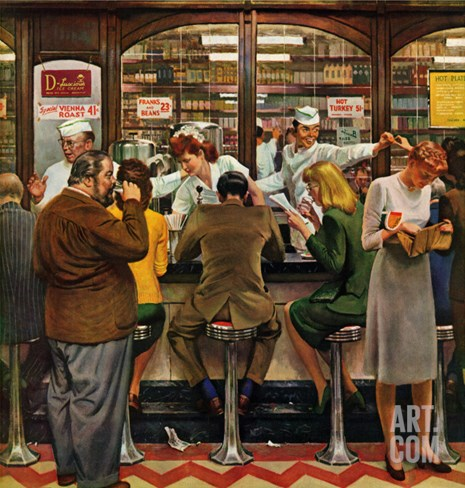 """Lunch Counter,"" October 12, 1946 Stretched Canvas Print"