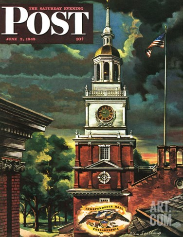 """Independence Hall, Philadelphia, Pa.,"" Saturday Evening Post Cover, June 2, 1945 Stretched Canvas Print"
