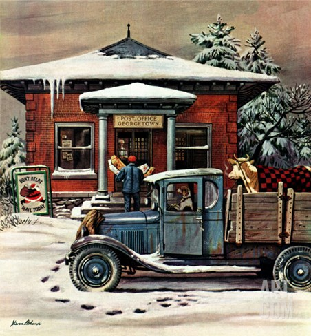 """Rural Post Office at Christmas,"" December 13, 1947 Stretched Canvas Print"
