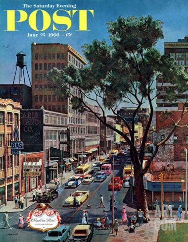 """Peachtree Street,"" Saturday Evening Post Cover, June 25, 1960 Stretched Canvas Print"