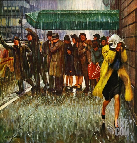 """Rainy Wait for a Cab,"" March 29, 1947 Stretched Canvas Print"