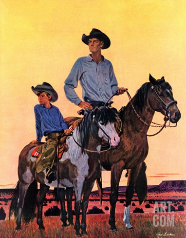 """Surveying the Ranch,"" August 19, 1944 Stretched Canvas Print"
