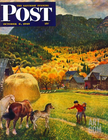"""Belgian Horse Farm,"" Saturday Evening Post Cover, October 8, 1949 Stretched Canvas Print"