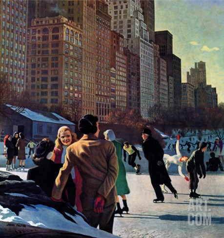 """Skaters in Central Park,"" February 7, 1948 Stretched Canvas Print"