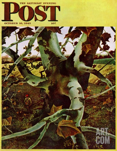"""Sycamore Tree and Hunter,"" Saturday Evening Post Cover, October 16, 1943 Stretched Canvas Print"