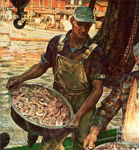 &quot;Shrimpers,&quot; October 25, 1947 Stretched Canvas Print
