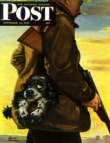 """Pocket Pal,"" Saturday Evening Post Cover, November 17, 1945 Stretched Canvas Print"