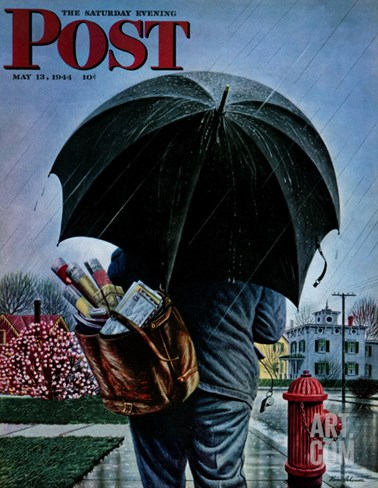 """Mailman,"" Saturday Evening Post Cover, May 13, 1944 Stretched Canvas Print"