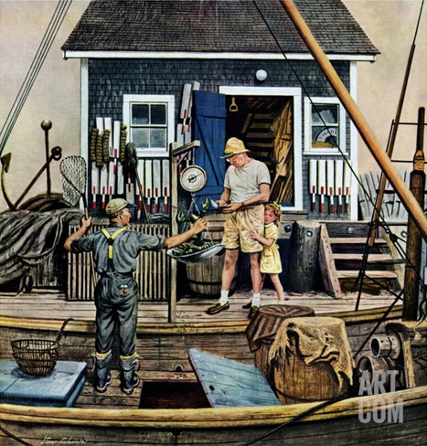 """Buying Lobsters,"" July 2, 1949 Stretched Canvas Print"