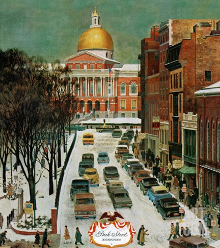 """Park Street, Boston,"" January 7, 1961 Stretched Canvas Print"