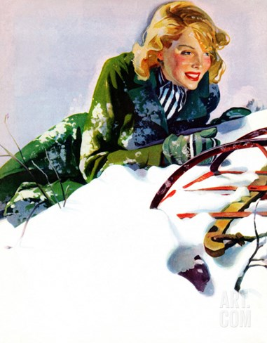 """Tumble from Sled,"" January 27, 1940 Stretched Canvas Print"