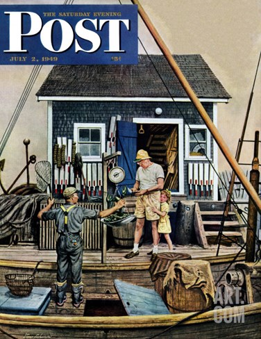 """Buying Lobsters,"" Saturday Evening Post Cover, July 2, 1949 Stretched Canvas Print"