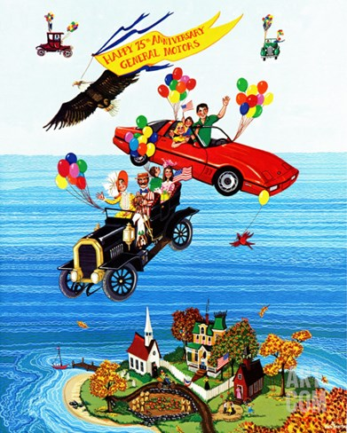 """Flying Cars,"" November 1, 1983 Stretched Canvas Print"