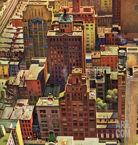 """Bird's-Eye View of New York City,"" August 17, 1946 Stretched Canvas Print"
