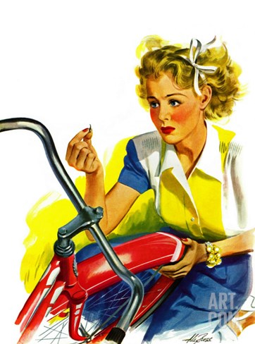 """Flat Bike Tire,"" July 24, 1943 Stretched Canvas Print"