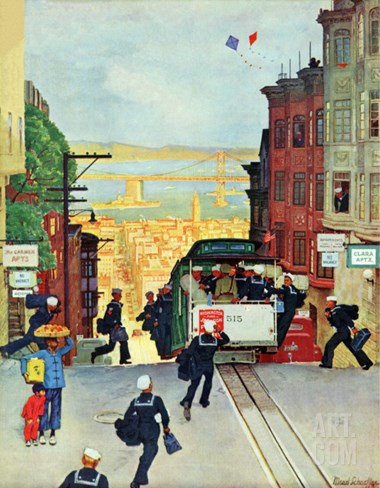 """San Francisco Cable Car,"" September 29, 1945 Stretched Canvas Print"