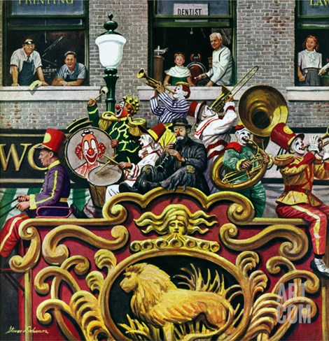 """Clown Band,"" June 26, 1948 Stretched Canvas Print"