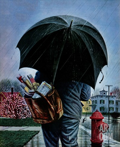 """Mailman,"" May 13, 1944 Stretched Canvas Print"
