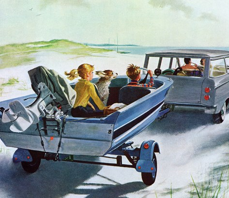 """Highway Boatride,"" July 14, 1962 Stretched Canvas Print"
