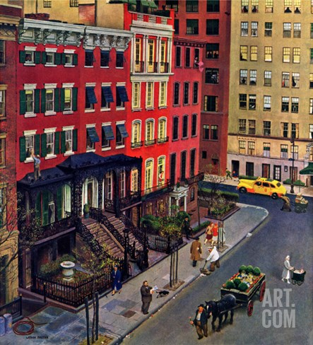 """""""Gramercy Park,"""" March 25, 1944 Stretched Canvas Print"""