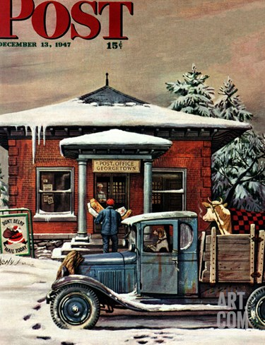"""Rural Post Office at Christmas,"" Saturday Evening Post Cover, December 13, 1947 Stretched Canvas Print"