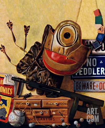 """""""Still Life of Boys Toys,"""" June 30, 1945 Stretched Canvas Print"""