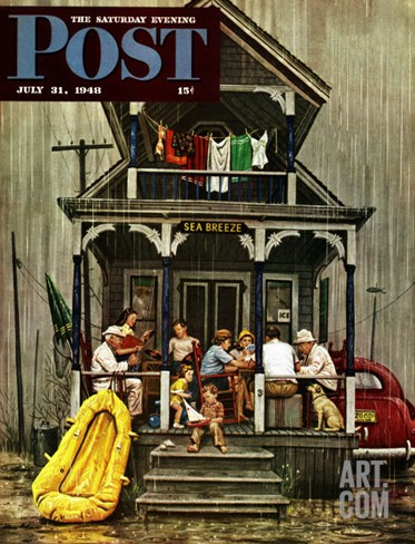 """Rainy Day at Beach Rental,"" Saturday Evening Post Cover, July 31, 1948 Stretched Canvas Print"