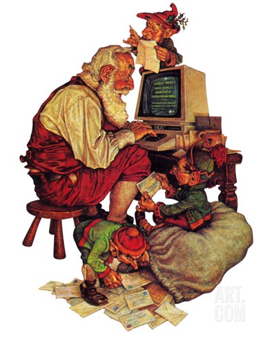 """Santa's Computer,"" December 1, 1982 Stretched Canvas Print"
