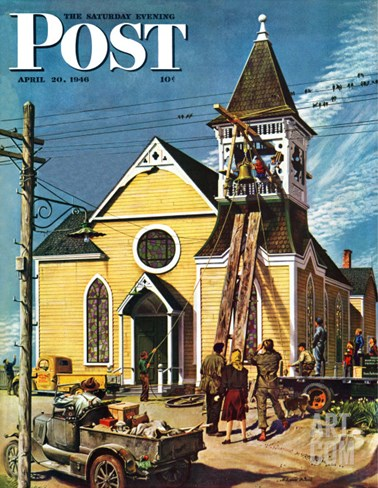 """Church Belfry Repair,"" Saturday Evening Post Cover, April 20, 1946 Stretched Canvas Print"