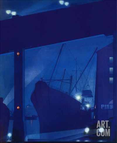 """Nighttime in Port,"" January 13, 1940 Stretched Canvas Print"