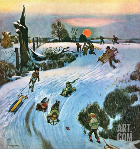 """Sledding by Sunset,"" December 18, 1948 Stretched Canvas Print"