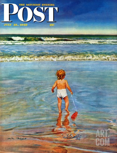 """Baby at the Beach,"" Saturday Evening Post Cover, July 23, 1949 Stretched Canvas Print"