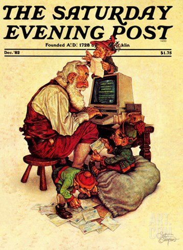 """Santa's Computer,"" Saturday Evening Post Cover, December 1, 1982 Stretched Canvas Print"