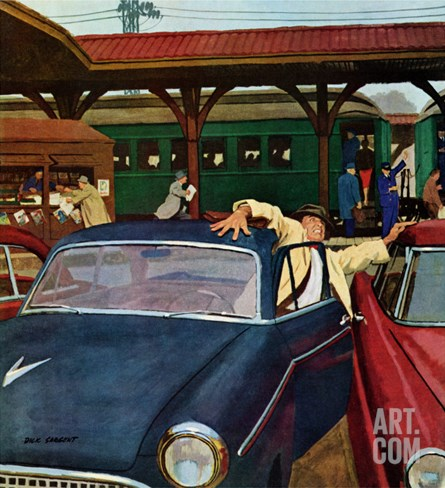 """Cramped Parking,"" March 5, 1960 Stretched Canvas Print"
