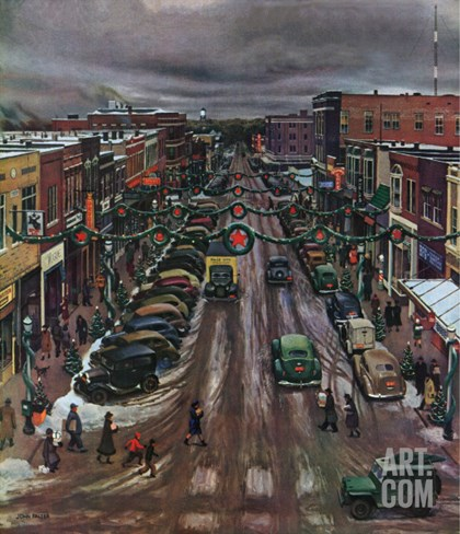 """Falls City, Nebraska at Christmas,"" December 21, 1946 Stretched Canvas Print"