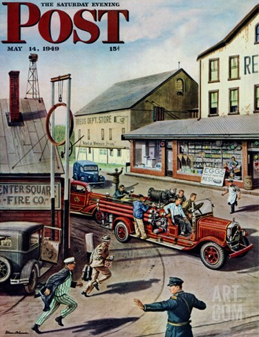 """Small Town Fire Company,"" Saturday Evening Post Cover, May 14, 1949 Stretched Canvas Print"