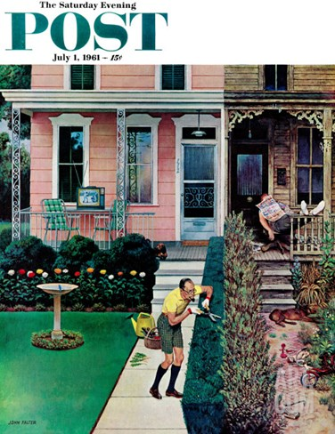 """Tidy and Sloppy Neighbors,"" Saturday Evening Post Cover, July 1, 1961 Stretched Canvas Print"
