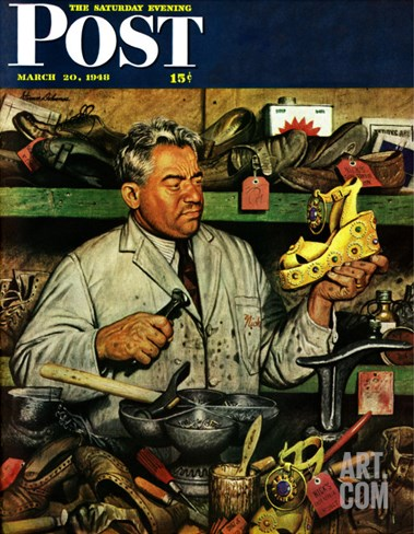 """Shoe Repairman,"" Saturday Evening Post Cover, March 20, 1948 Stretched Canvas Print"