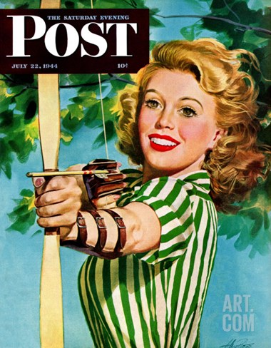 """Woman Archer,"" Saturday Evening Post Cover, July 22, 1944 Stretched Canvas Print"
