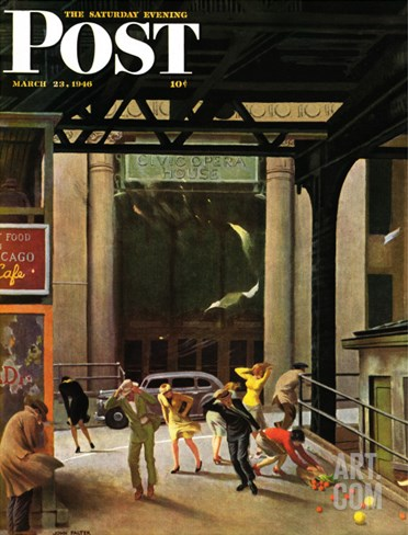 """""""Windy City,"""" Saturday Evening Post Cover, March 23, 1946 Stretched Canvas Print"""