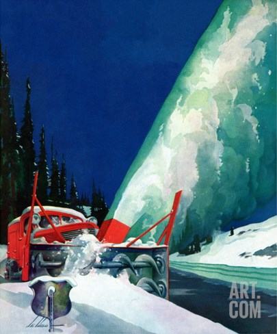 """Highway Snowplow,"" January 18, 1941 Stretched Canvas Print"
