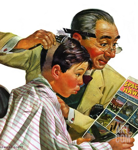 """Comical Haircut,"" February 27, 1943 Stretched Canvas Print"