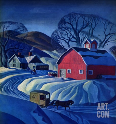 """Mail Wagon in Snowy Landscape,"" March 14, 1942 Stretched Canvas Print"