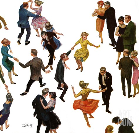 """Different Dancing Styles,"" November 4, 1961 Stretched Canvas Print"