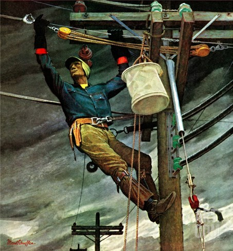 """Telephone Lineman,"" January 10, 1948 Stretched Canvas Print"