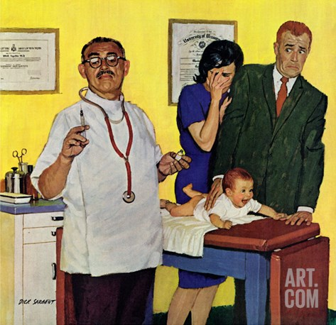 """Baby's First Shot,"" March 3, 1962 Stretched Canvas Print"