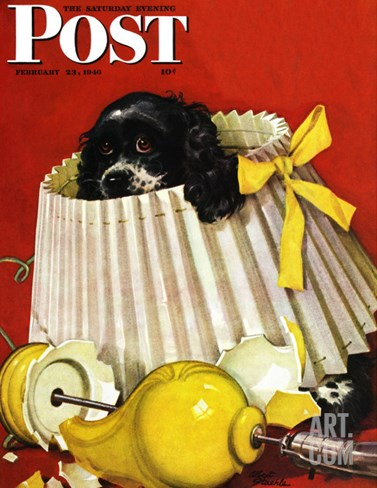 """Butch & Broken Lamp,"" Saturday Evening Post Cover, February 23, 1946 Stretched Canvas Print"