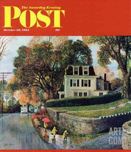 """Walking Home in the Rain,"" Saturday Evening Post Cover, October 20, 1962 Stretched Canvas Print"
