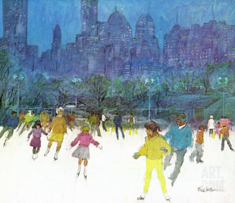 """Ice Skating in Central Park,"" January 5, 1963 Stretched Canvas Print"