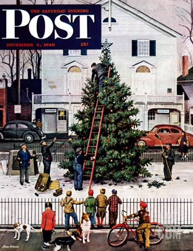 """Tree in Town Square,"" Saturday Evening Post Cover, December 4, 1948 Stretched Canvas Print"